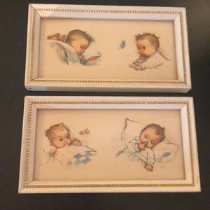 Other - Vintage baby pictures set of two framed
